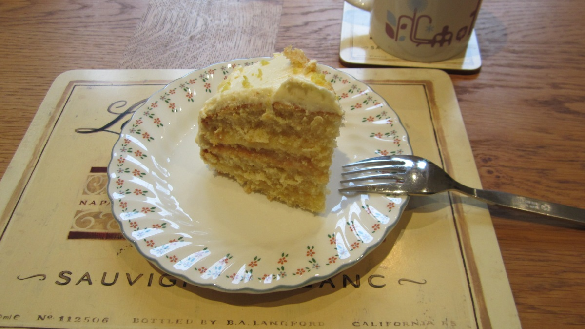 Luscious Layered Lemon Cake complete with Mug of Tea